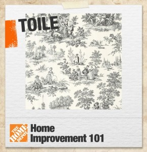 A graphic illustrating toile in interior decor