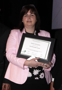 Dr Kathleen McLoughlin along with her award