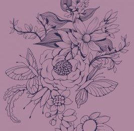 Make a floral design for fabric in PS - finished linework