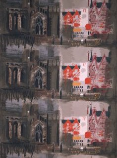 'Northern Cathedral', furnishing textile, John Piper, 1961. Museum no. CIRC.586-1963
